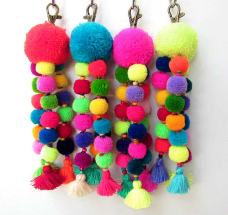 Tutu Pom Pom Keychain Trio of Neon Wool Mini Pom poms Bag  551995fa1