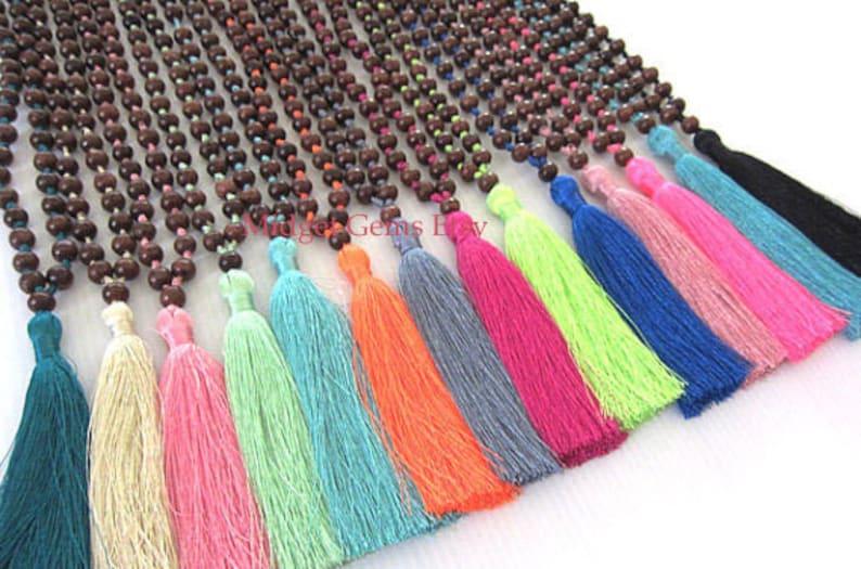 SALE Tassel Necklace Handmade Mala Beaded Necklace Prayer image 0