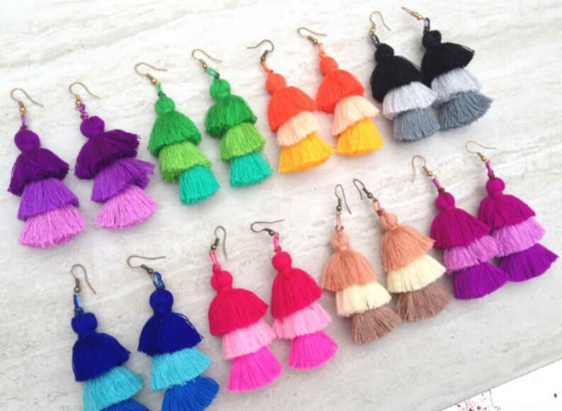 Tassel Earrings  Dangle Earrings   Custom Colors  Wholesale Earrings  Tassle Earrings  Pompom Earrings  Pom Pom Jewelry  Gift for He