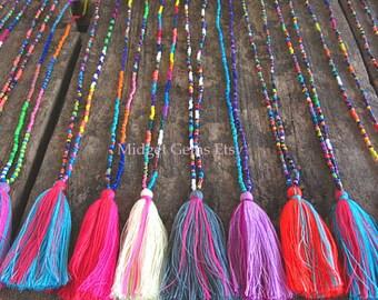 Rainbow Drops Tassel Necklace Wholesale Seed Bead Necklace Long Tassel Necklace Tiny Bead Necklace Dainty Bead Necklace Tiny Beaded Jewelry