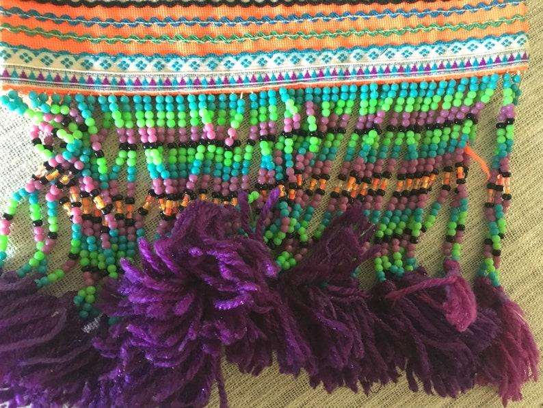 Tribal Fabric Handmade Fabric Vintage Fabric Hmong Vintage Fabric Beaded Hmong Fabric Home Decor Ethnic Textile Embellishment