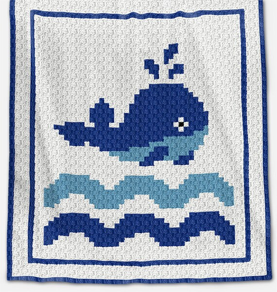 CROCHET Pattern - C2C Baby Blanket Pattern - Whale - C2C Crochet Graph -  Whale Crochet Pattern - c2c Crochet - Whale Crochet Graph
