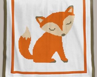 CROCHET Pattern - Baby Blanket - Fox - Crochet Graph - Fox Crochet Pattern - Afghan Crochet Pattern - Fox Crochet Graph