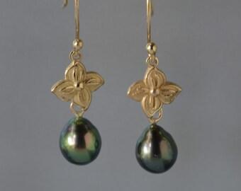Tahitian Pearl Earrings, Solid Gold Flower, Baroque Black Tahitian Pearls Earrings, Natural Tahitian Dangle Earring, June Birthstone