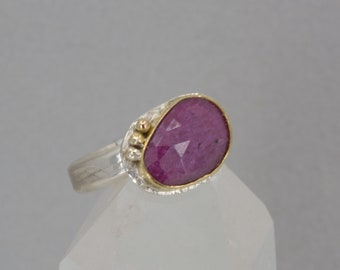 Raspberry Color Sapphire Ring, Rose Cut Fancy Color Sapphire Ring in Gold and Silver and Gold , US Size 8.5 ring