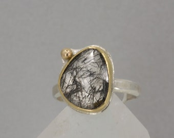 Black Tourmaline Rutile Ring in Gold and Silver, Tourmalated Crystal Quartz Statement Ring, US Size 9.5 Ring