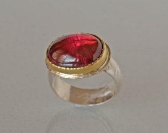 Große rosa Turmalinring, Gold und Silber, Rubellit Turmalin Cocktail-Ring, natürliche Turmalin Statement Ring, auf Bestellung gefertigt