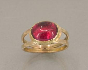 Red Rubellite Tourmaline in Gold, Deep Pink Tourmaline Cocktail Ring, Fine Jewelry Ring, One of a Kind