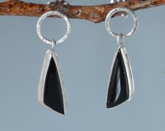 Black Onyx Earrings in Sterling Silver, Black Stone Dangle Earrings on Post, Black Statement Earrings, Onyx in Bezel Earrings, Onyx Jewelry