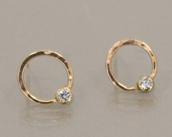 14K Yellow Gold Diamond Hoop Stud Earrings, April Birthstone, One of a Kind Contemporary Earrings