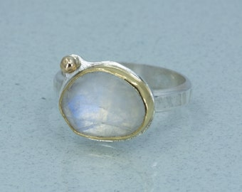 Rainbow Moonstone and Gold Cocktail Ring in Yellow Gold, Rose Cut Moonstone Ring, US Size 8