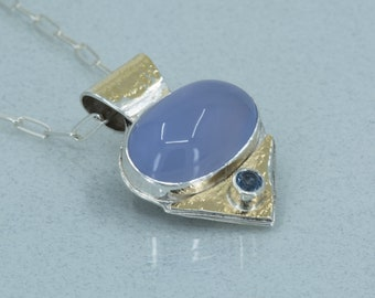 Blue Chalcedony Pendant in 18K Gold and Silver, Blue Gemstone Statement Necklace , One of a Kind