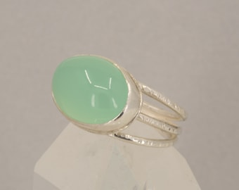 Aqua Chalcedony Cocktail Ring in Silver, Large Quartz Statement Ring, US Size 8