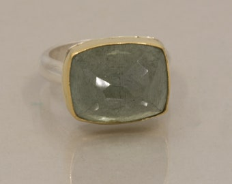 Aquamarine Ring in Gold and Silver, Large Rose Cut Moss Aquamarine Statement Ring, March Birthstone Ring, US Size 7.5