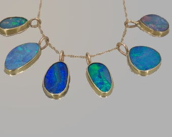 Australian Opal Pendants, Black Opal Charms in Gold and Silver, Gift for October Birthdays