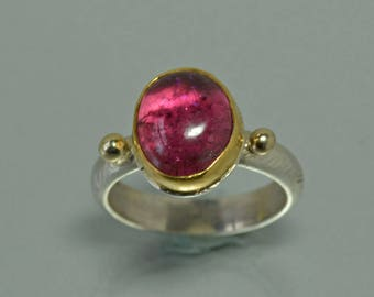 Pink Tourmaline Ring, Large Tourmaline Crystal Ring, Gold and Silver Ring- Rubellite Cocktail Ring, Gift for Women, Size 7.5, October