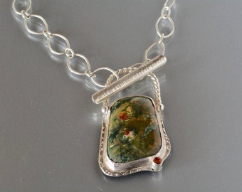SALE, Forest Jasper Gemstone Necklace Handcrafted in Silver, Green Jasper Stone Necklace, Metalwork Necklace, One of a Kind Necklace