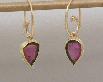 Watermelon Tourmaline Dangle Earrings, Gold Pink/Green Tourmaline Drop Earrings, Tourmaline Statement Earrings