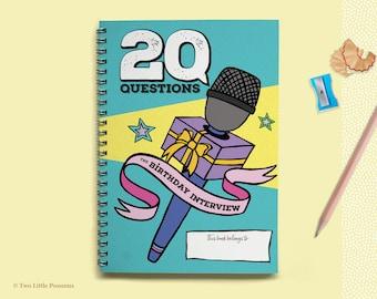 Birthday Interview Book, Kids Keepsake Journal, Childhood Memories, 20 Questions, Interview Questions for Children, Gifts for Kids