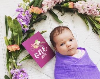 Floral Baby Milestone Cards - Baby Photo Cards - Milestone Cards - Baby Shower Gift - Baby Gift - Baby Girl - Newborn Baby - Baby Keepsake