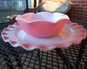 Vintage Hazel Atlas Pink Crinoline Dinner Plate and Berry Bowl tithriftstore.etsy