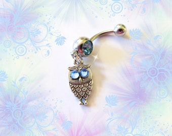 Belly Ring Body Piercing Jewelry 1B112 Belly Button Ring Exotic Turquoise Blue Pink Rose Swirl Drop White Gold Setting