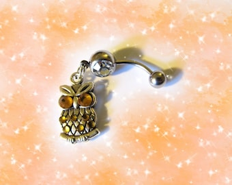 Mini Owl with Crystal Ruby Red Eyes Belly Button Jewelry For Women and Teens 1A125 SALE--Belly Ring