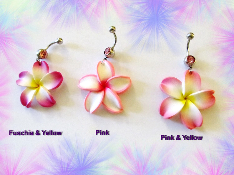 Belly ring pink or fuschia hawaiian plumeria flower belly etsy zoom izmirmasajfo