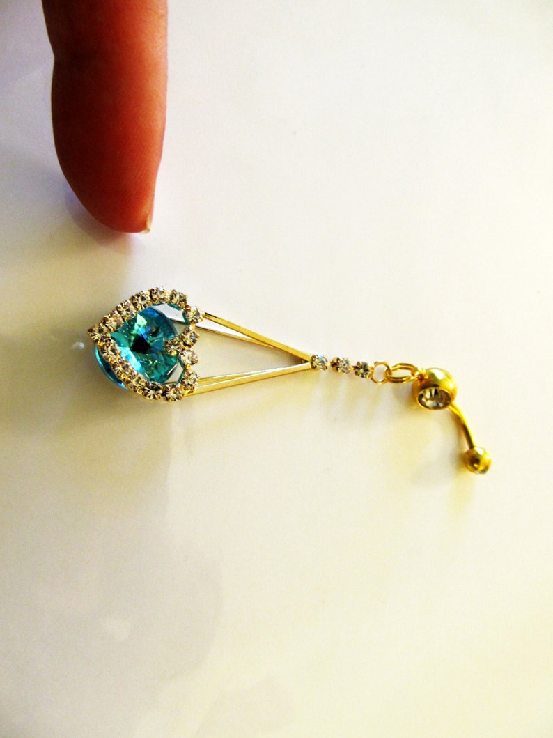 Belly Ring Fancy Belly Button Ring Belly Button Jewelry women or Teens 1C124 Long Gold Dangling Ocean Aqua Sea Baby Blue Crystal Heart
