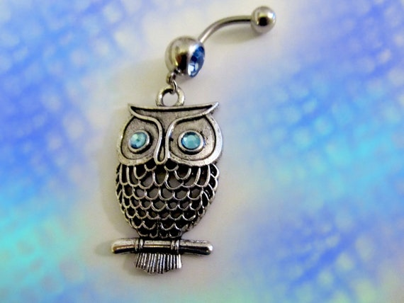 Mini Flying Owl with Crystal blue Eyes Belly Button Navel Jewelry For women or Teens 1A132 SALE--Belly Ring