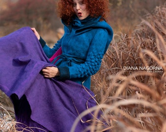 Bright turquoise coat with a hood, felted jacket, bohemian style, festival wear, colorful short wool coat,