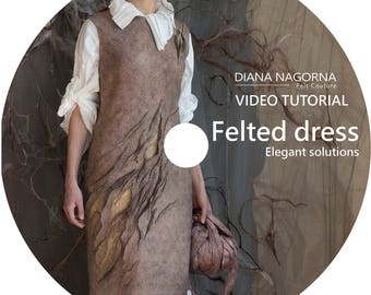 Video guide for a wool dress, tutorial for nuno felted clothing, creative gift for crafter, template and instructions