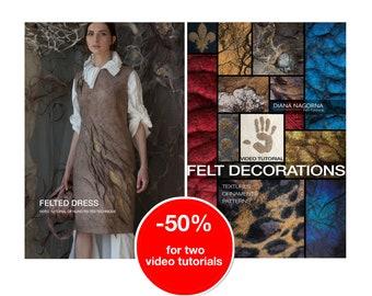 Set of 2 video tutorials for textured felting techniques,felt dress,3d wool decor, step by step guide, instant download original masterclass