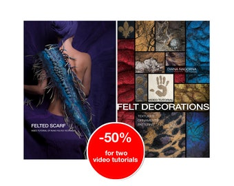 Set of 2 video tutorials for textured felting techniques,felt scarf,3d wool decor, step by step guide, instant download original masterclass