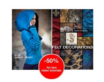Set of 2 video tutorials of textured felting techniques,felt jacket,3d wool decor, step by step guide, instant download original masterclass