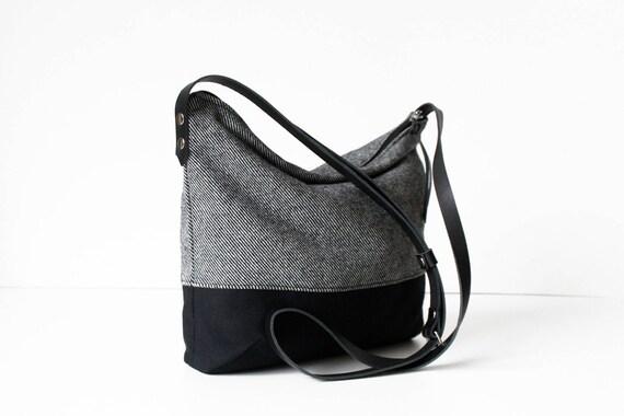 236f9b6ba5 Crossbody bag gray black canvas fabric leather straps