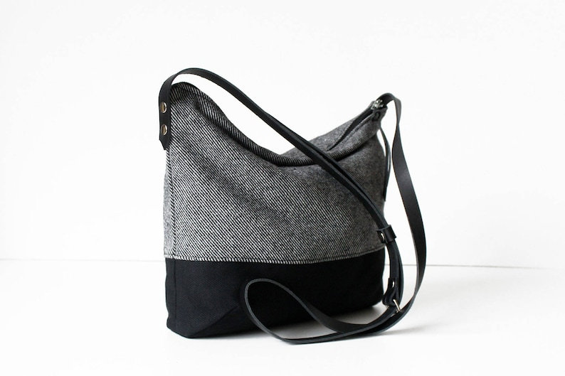 f3b92bb76f Crossbody bag gray black canvas fabric leather straps