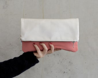Clutch apricot/pearl white for wedding or party, big foldover purse for cosmetic, makeup, minimalistic