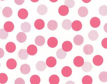 Color Theory Dots White Pink - Moda Fabrics 10833 11