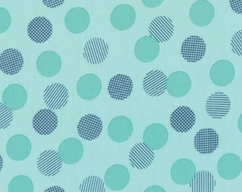 Color Theory Dots Teal - Moda Fabrics 10833 14 Blue Turquoise Navy