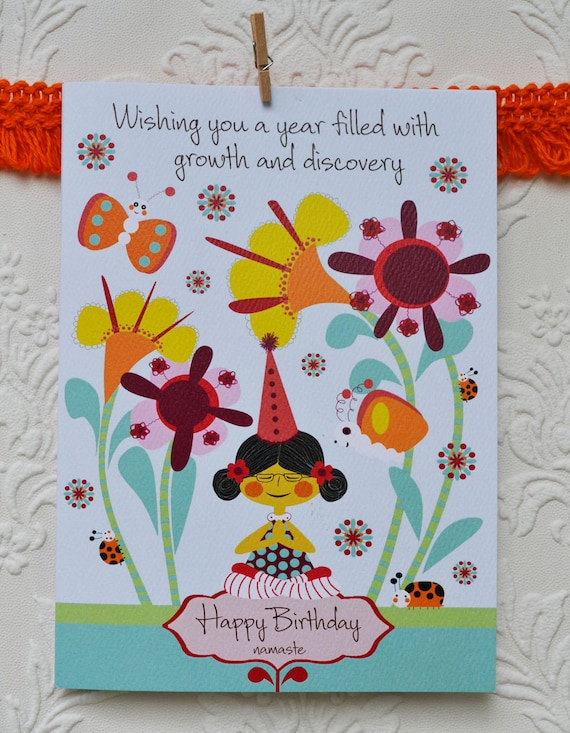 items similar to yoga birthday cardyoga cardsbirthday