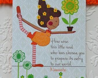 """Yoga Pregnancy Card, Greeting Card,Pregnancy greeting card, 5 x 7"""""""