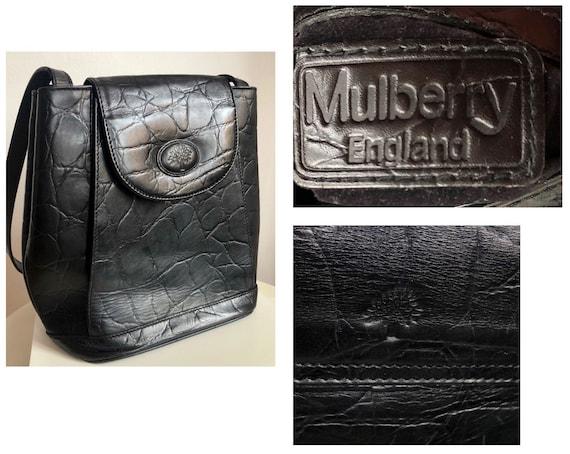Vintage 90's Mulberry Black leather bag, designer