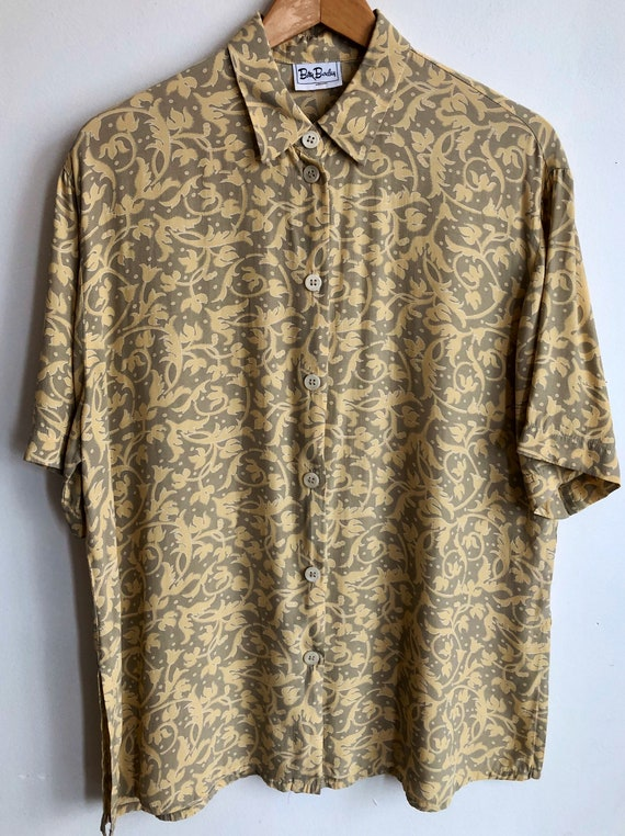 long sleeve blouse Vintage 90s abstract floral print shirt hipster print shirt blue-grey geometric print