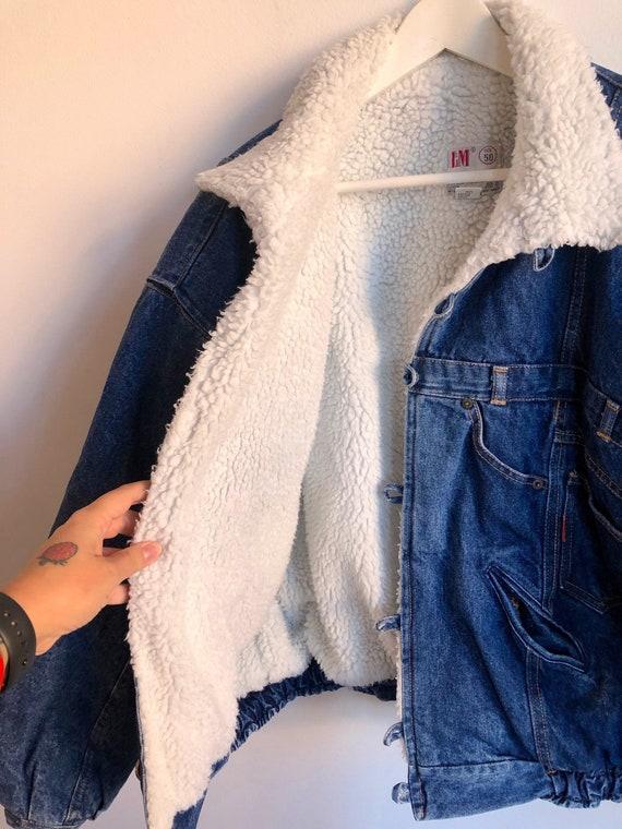 Vintage 80's winter jeans jacket, blue denim jacke