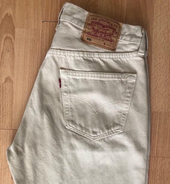 Vintage Beige Levi's 501 jeans, button fly jeans,