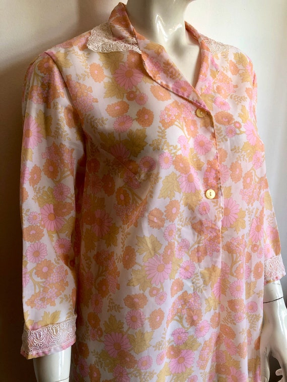 Vintage 80's floral nightgown, floral print nightg