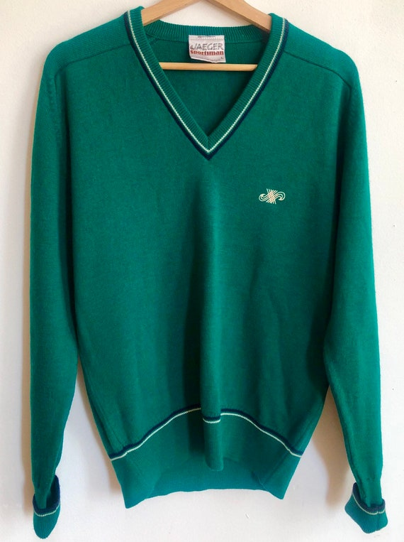 Vintage Jaeger Sportsman Green Sweater Tennis Pullover Etsy