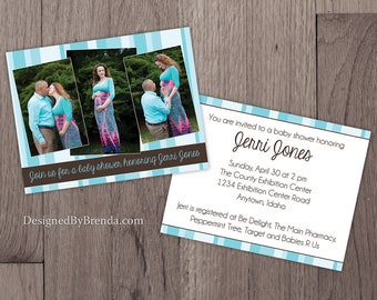 Baby Shower Invitation with 3 Maternity Photos - Double Sided w/ pics on front - Blue & Brown for Baby Boy can be changed for Girl / Neutral