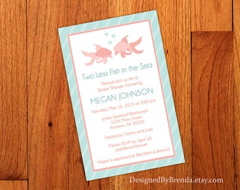 d72570b27d42 Large Bridal Shower Invitation - Two Less Fish in the Sea - 8.5
